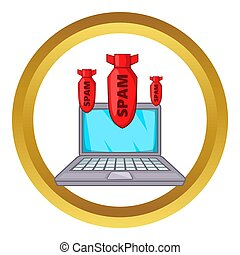 Spam bombs icon in golden circle, cartoon style isolated on...