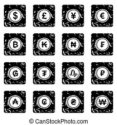 Currency from different countries set icons in grunge style...