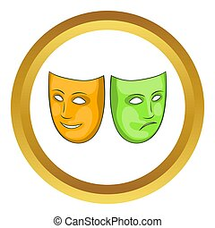 Happy and sad mask icon in golden circle, cartoon style...