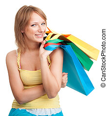 Woman with color bags - Woman with colorful vivid shopping...