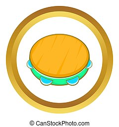 Tambourine icon in golden circle, cartoon style isolated on...