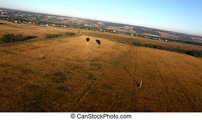 Two shadow of hot air balloon - autumn