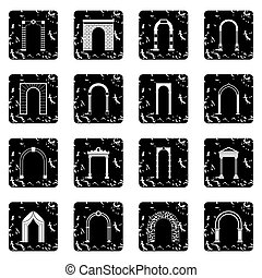 Arch set set icons, grunge style - Arch set icons in grunge...