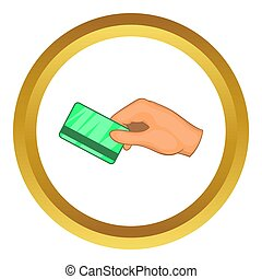 Hand with hotel room key card icon in golden circle, cartoon...