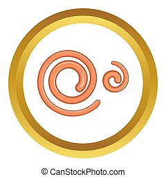 Parasitic nematode worms icon in golden circle, cartoon...