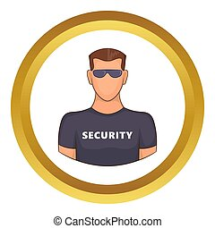 Security guard male icon in golden circle, cartoon style...