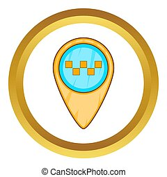 Geo taxi icon in golden circle, cartoon style isolated on...