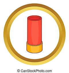 Shotgun shell icon in golden circle, cartoon style isolated...