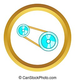 Timing belt icon in golden circle, cartoon style isolated on...
