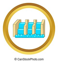 Power station icon in golden circle, cartoon style isolated...