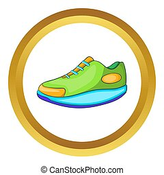 Athletic shoe icon in golden circle, cartoon style isolated...