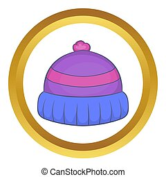 Winter knitted hat with pompon icon in golden circle,...