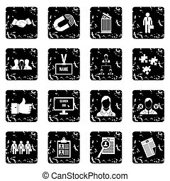 Human resource management set icons, grunge style - Human...
