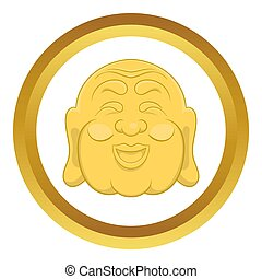 Budha head icon in golden circle, cartoon style isolated on...