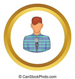 Young man with microphone icon in golden circle, cartoon...