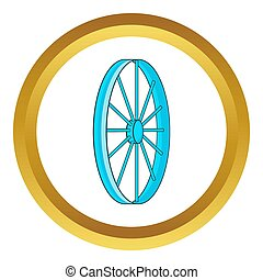 Bicycle wheel symbol icon in golden circle, cartoon style...