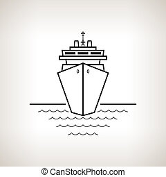 Silhouette cruise ship on a light background