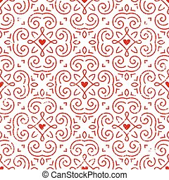 Seamless ornate pattern with hearts.