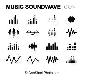 Vector flat music soundwave icons set on white background