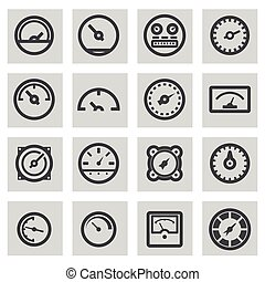 Vector line meter icons set on grey background