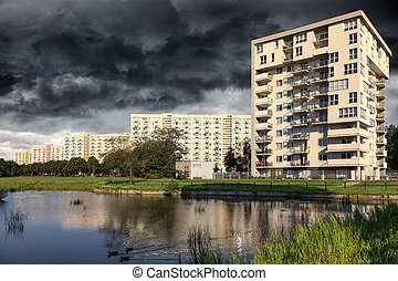 City before the downpour - Storm clouds gather over City of...