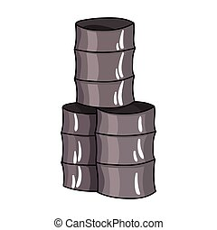Barricade from barrels icon in cartoon style isolated on...