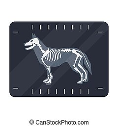 Dog x-ray icon in cartoon style isolated on white...