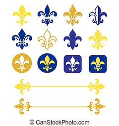 Fleur de lis - French symbol gold and navy blue design,...