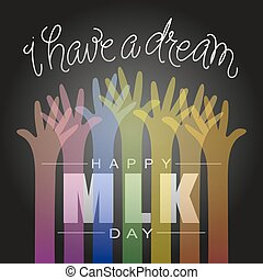 happy martin luther king day. hand letter. vector...