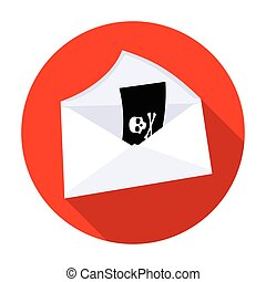 E-mail with virus icon in flat style isolated on white...