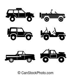 set Off-road vehicle, vector illustration - set 4x4 Utility...