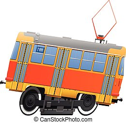 tramway. side view. - vector illustration of tram in comics...