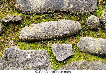 stones of an ancient path and moss - gray stones of an...