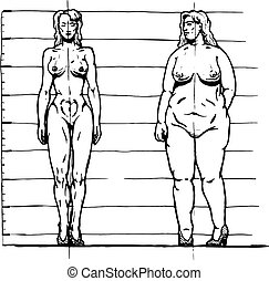 Thick and thin woman