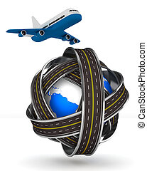 Roads round globe and airplane on white background. Isolated...