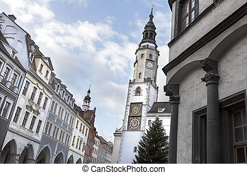 Historic town of Goerlitz, Germany, with town hall tower