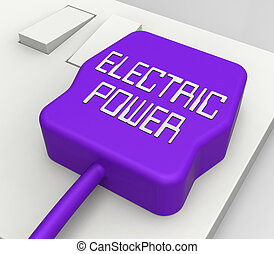 Electric Power Plug Shows Electrical Energy 3d Rendering -...