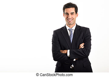 Businessman wearing blue suit and tie on white background....