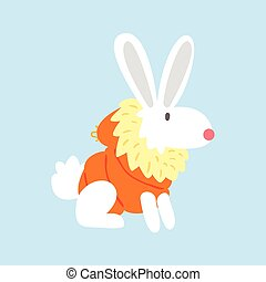White Polar Rabbit In Padded Coat, Arctic Animal Dressed In Winter Human Clothes Cartoon Character
