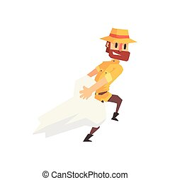 Adventurer Archeologist In Safari Outfit And Hat Dragging...