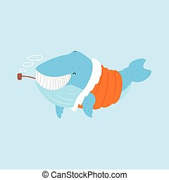 Blue Whale Smoking Pipe In Padded Coat,Arctic Animal Dressed In Winter Human Clothes Cartoon Character