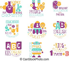 Kids Science Education Extra Curriculum Club Label Templates In Colorful Cartoon Style With Smiling Characters