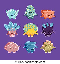 Alien Fantastic Golem Characters Of Different Humanized...
