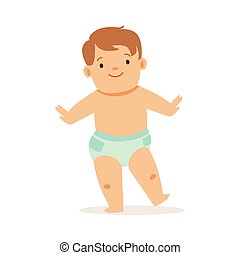 Boy In Nappy Doing First Steps, Adorable Smiling Baby...