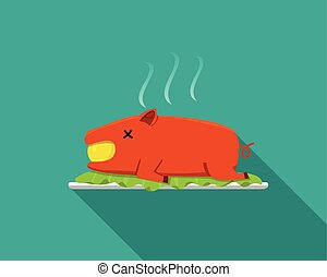 Hot Barbecue suckling pig in flat style, side view, vector