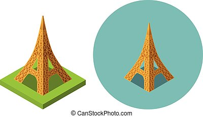 Eiffel tower icons in flat isometric style, vector