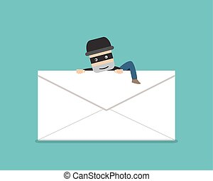 Thief climb out from phishing mail, vector design