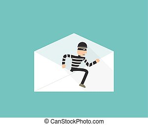 Thief walk out from phishing mail, vector design