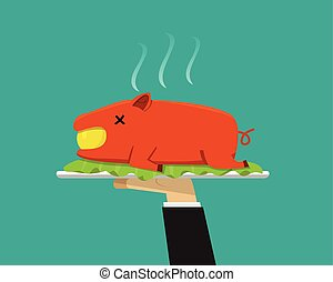Waiter hand serving grilled suckling pig on plate, vector