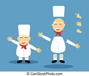 Editable cartoon senior chef for animation, vector design